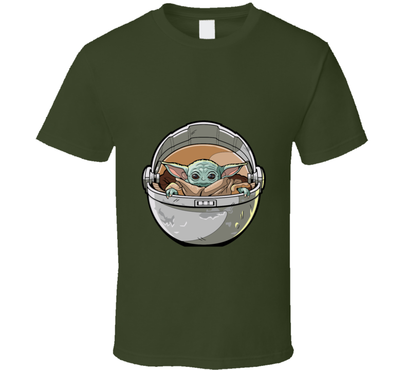 Star Wars The Mandalorian Child In Chair T-shirt And Apparel T Shirt 1