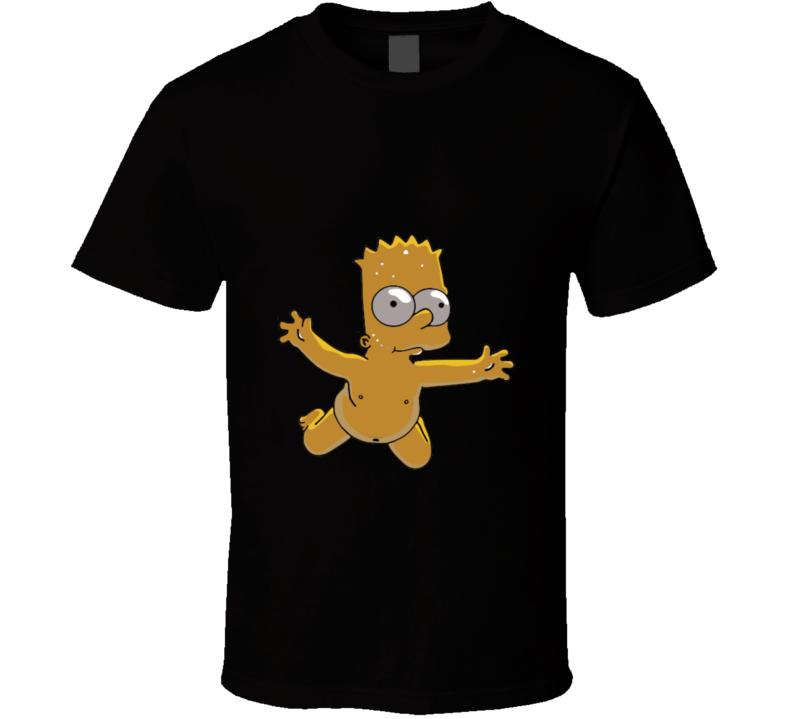 The Simpsons Bart Naked Mashup Nirvana T Shirt 1